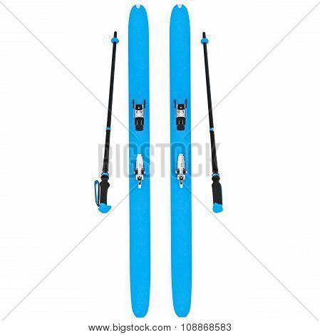 Skiing blue ski poles, top view