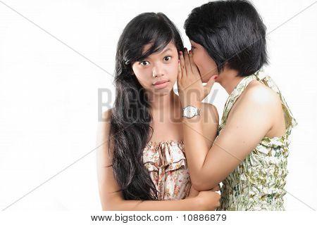 girlfriends talking over white