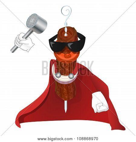 Super Kebab Man In Red Cloak