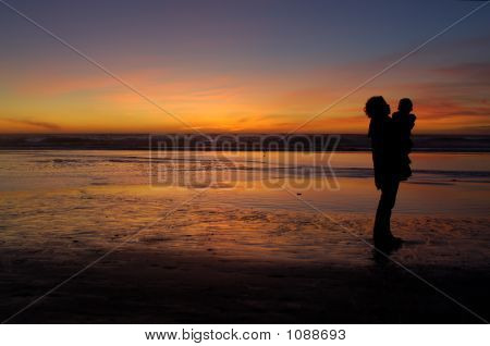 Daughter And Mother At Sunset 2