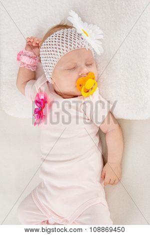 Half-length Portrait Of Two Months Sleeping Girl