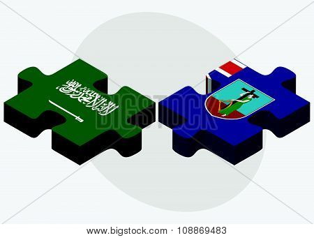 Saudi Arabia And Montserrat Flags