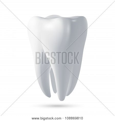 Vector tooth, 3D render. Dental, medicine, health concept design element.