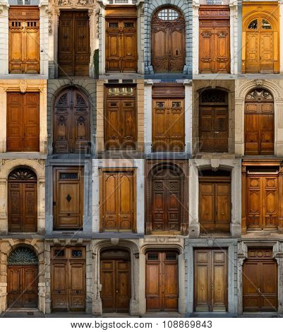 A collage of wooden doors from Lyon, France