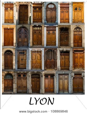 A collage of French coloured doors presented in a white border with the city name Lyon.