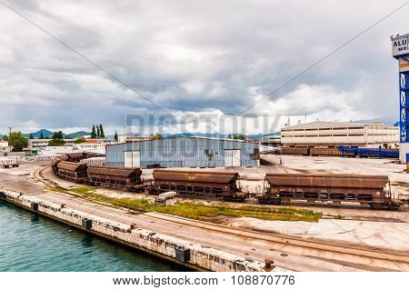 Ploce, Croatia - May 17, 2014: Cargo Train With Port Infrastructure In Port Ploce, Largest Sea Port