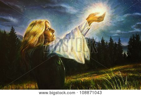 painting mystical young woman in green emerald medieval dress is holding a glowing ball of light in