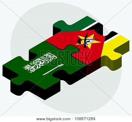 Saudi Arabia And Mozambique Flags
