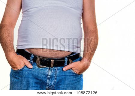 man with overweight. photo icon for beer belly, unsuccessful dieting and eating the wrong foods.
