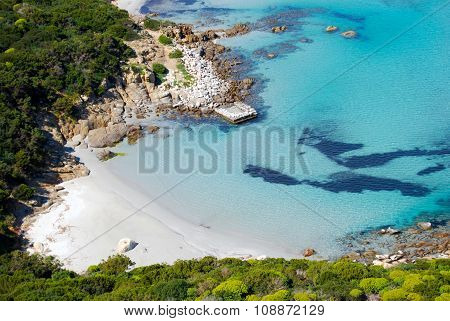 Colorful Coastal Nature In Villasimius (sardinia) With Sea Mountain. Lagoon Of Porto Giunco