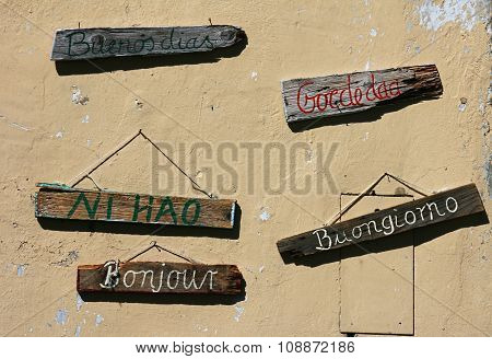 Greeting signs in international languages