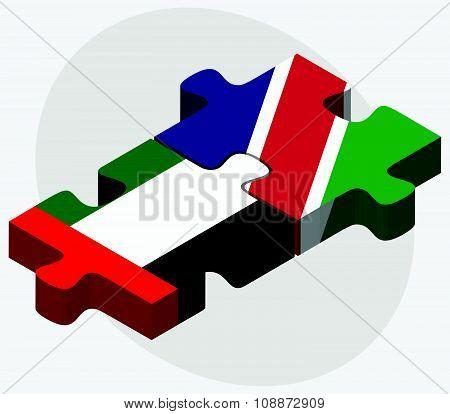 United Arab Emirates And Namibia Flags
