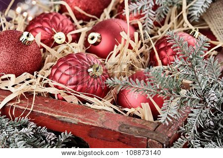 Crate Of Glass Christmas Ornaments