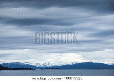Norwegian Sea, Dark Blue Coastal Landscape