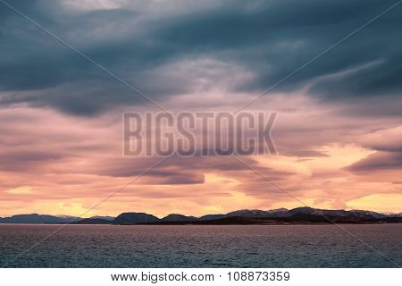Norwegian Coastal Landscape, Colorful Stormy Sky