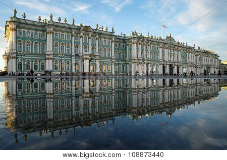 St. Petersburg. Winter Palace. The State Hermitage Museum. Reflection.