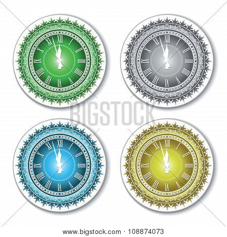 Set of isolated colorful wall clock.