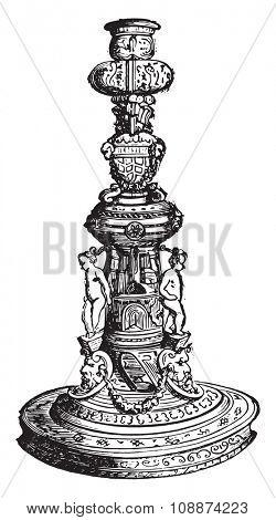 Chandelier tiled Oiron, vintage engraved illustration. Industrial encyclopedia E.-O. Lami - 1875.