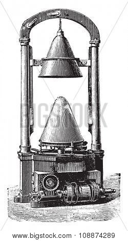 Fulling cone, vintage engraved illustration. Industrial encyclopedia E.-O. Lami - 1875.