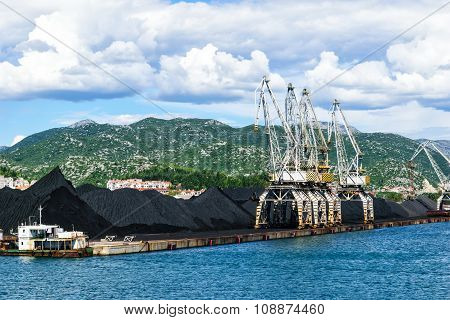 Ploce, Croatia - August 6, 2014: Bulk Cargo With Port Infrastructure In Port Ploce, Largest Sea Port