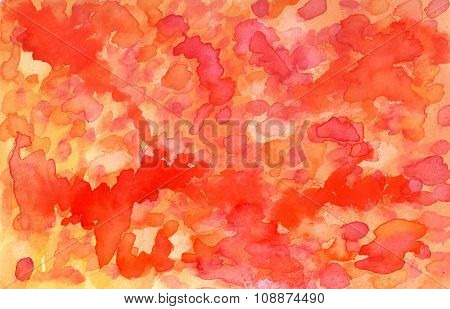 Abstract Artistic Watercolor Background Texture With Orange And Red Brushstrokes