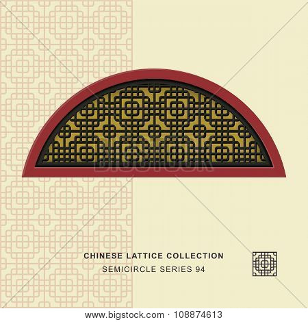 Chinese window tracery semicircle frame 94 round corner