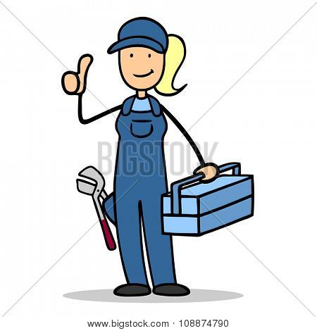 Cartoon woman as plumber holding her thumbs up