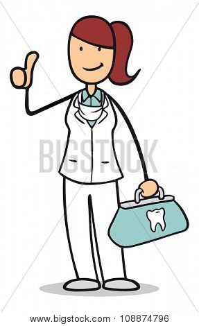 Happy cartoon woman as dentist holding up her thumbs