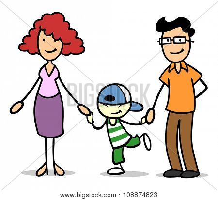Foster family holding hands with asian foster-child