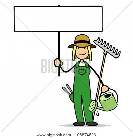 Cartoon woman as gardener holding up empty blank sign