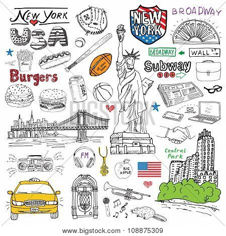New York City Doodles Elements. Hand Drawn Set With, Taxi, Coffee, Hotdog, Burger, Statue Of Liberty