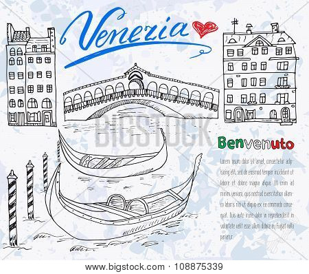 Venice Italy Sketch Elements. Hand Drawn Set With Flag, Map, Gondolas, Houses, Market Bridge. Letter