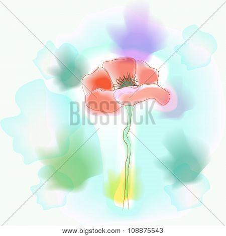 Vivid Flower Imitation Of Watercolor - Vector Illustration