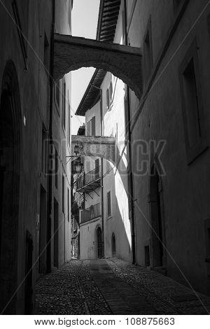 Narrow Street In Spoleto, Italy