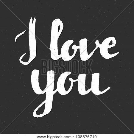 I Love You Inscription On Black Background.