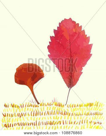 Leaves Trees Children Illustration Vector
