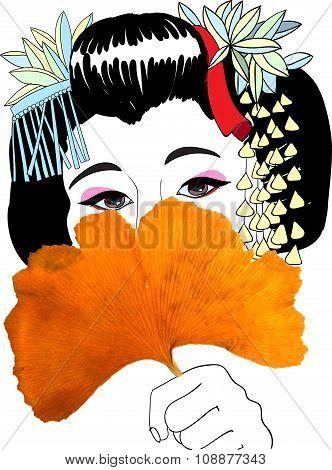 Geisha And Ginkgo Leaf Fan