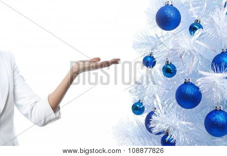 woman hand isolated on white studio shot new year christmas tree blue balls