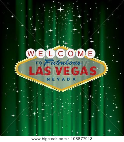 vector Las Vegas sign on green velvet with stars