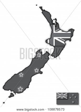 Grey New Zealand Flag In Map