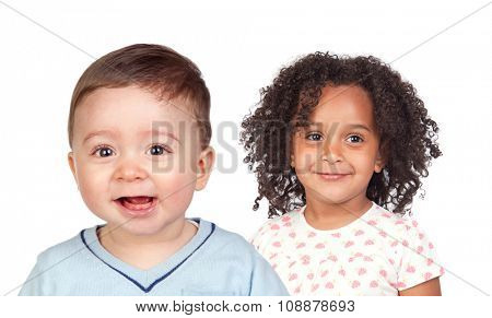 Two beautiful children looking at camera isolated on a white background