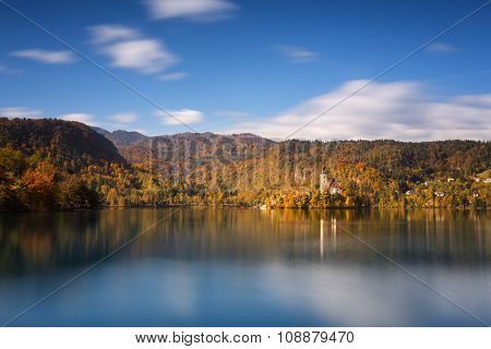 Bright sunny fall day on Lake Bled, Slovenia