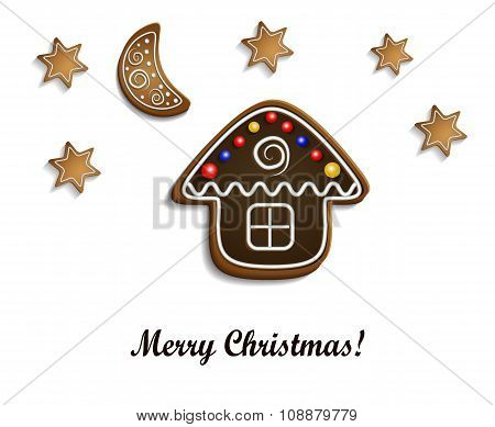 Gingerbread  house with stars