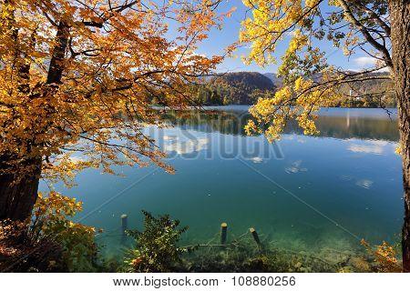 Sunny autumn day on Lake Bled, Slovenia