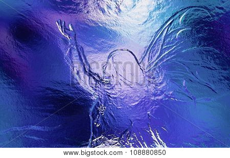 Woman goddess. Young  woman coated in metallic silver paint