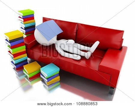 3D White People Reading A Book On White Background.