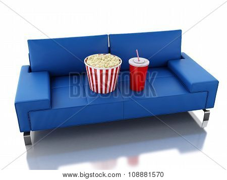 3D Popcorn And Drink On Sofa. Cinema Concept