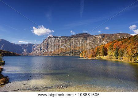 Sunny autumn day on Lake Bohinj, Slovenia