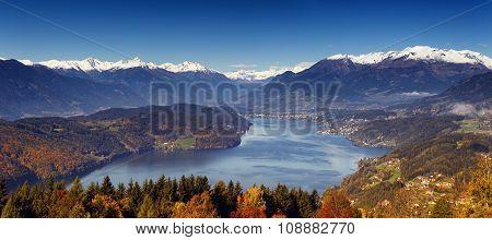 Morning autumn view on Lake Millstatt in Austria