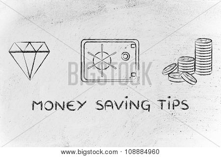 Diamond, Coins And Safe With Text Money Saving Tips